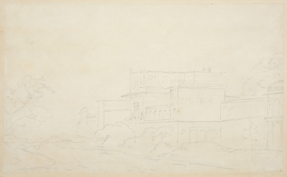 Thomas Daniell, R.A. (1749 – 1840) and William Daniell, R.A. (1769 – 1837) View of India (Building amidst Trees), c.1790 Pencil on paper 24 x 40 cm 9 1/2 x 15 3/4 in