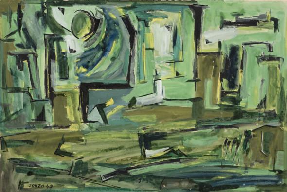 Francis Newton Souza, Untitled (Green Landscape), 1949
