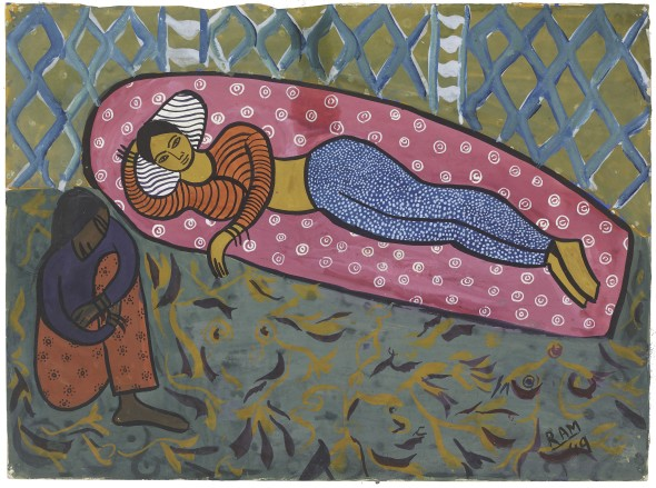 Ram Kumar 1924-2018Untitled (Reclining Nude/Why Can't I Sleep), 1949 Gouache on paper Signed and dated 'RAM/49' lower right, the reverse inscribed in pencil with the price '4000Fr/ No.4' 28 x 38 cm 11 1/8 x 15 in