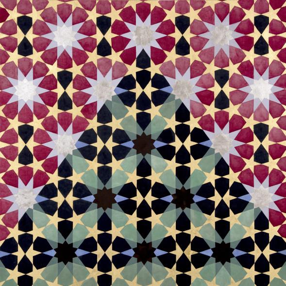 Elisabeth Deane b. 1985Stars of Mount Noor, 2019 Italian gold leaf, platinum leaf, natural pigments and Arabic gum on handmade Indian hemp paper 50 x 49.2 cm 19 3/4 x 19 3/8 in