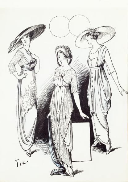 Romain de Tirtoff dit Erté, Three models, 1911
