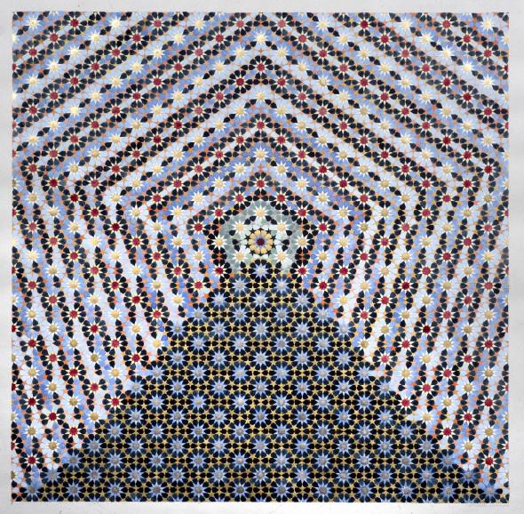 Elisabeth Deane b. 19852,040 Stars, 2018 Gold leaf, platinum leaf, natural pigments and Arabic gum on handmade Indian hemp paper 60 x 58 cm 23 5/8 x 22 7/8 in