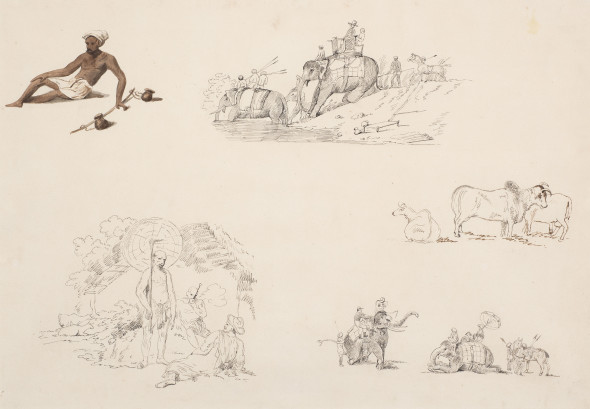 Company School Studies of Indian Life, 19th Century Pencil and watercolour on paper 31.1 x 45.1 cm 12 1/4 x 17 3/4 in