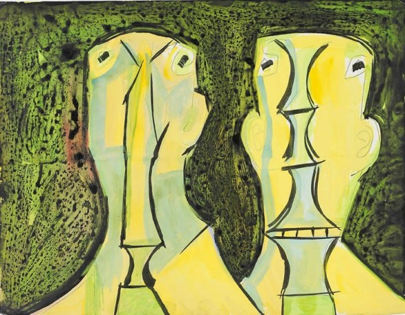 Francis Newton Souza, Two Heads, c.1958