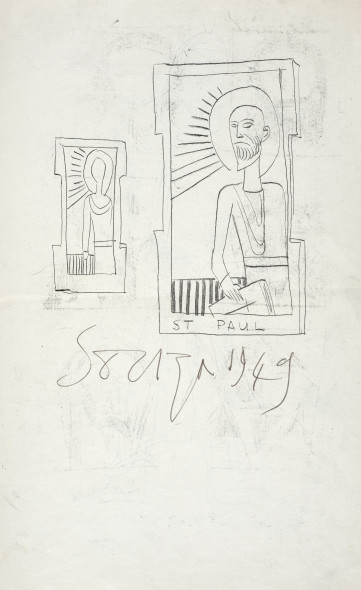 Francis Newton Souza, Untitled (Saint Paul ) recto; Untitled (Saint Anthony) verso, 1949