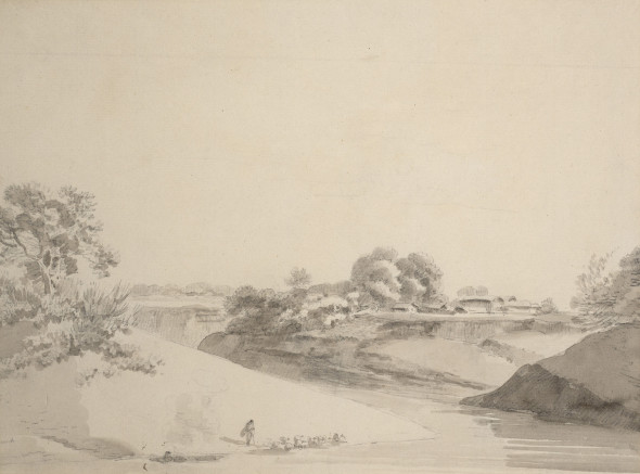 William Daniell 1769-1837An Indian River Scene Pencil and wash on paper 19 x 25 cm 7 1/2 x 9 7/8 in