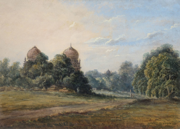 19th Century British A Rural Scene with Temples Watercolour on paper 18 x 24.8 cm 7 1/8 x 9 3/4 in
