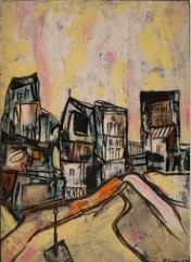 Lancelot Ribeiro, Untitled (Townscape with Orange Road), 1963
