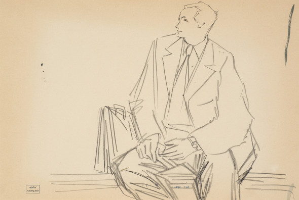 Syed Sadequain 1930-1987The Lawyer (Study for L'Etranger), c. 1964 Graphite on paper Stamped 'Atelier Sadequain' lower left 35 x 52 cm 13 3/4 x 20 1/2 in