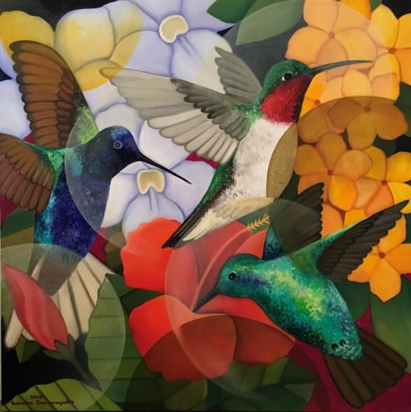 Senaka Senanayake b. 1951Hummingbirds, 2019 Oil on canvas Signed and dated 91.4 x 91.4 cm 36 x 36 in