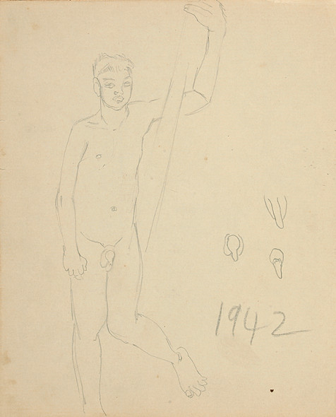 Francis Newton Souza, Untitled (Nude male), 1942