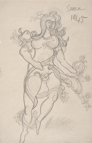 Francis Newton Souza, Untitled (Nude with floral garland), 1945