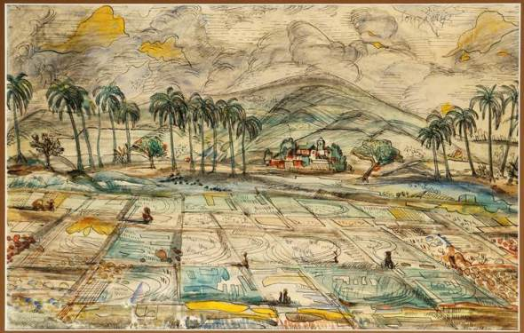 Francis Newton Souza, Rice Paddy in Goa, 1942