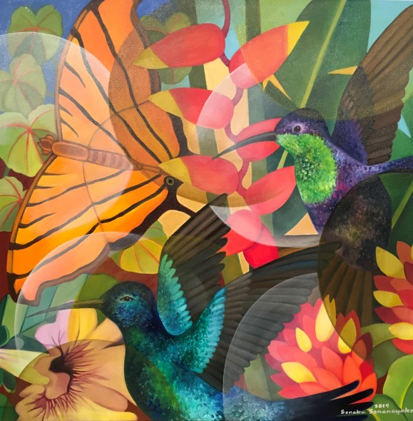 Senaka Senanayake b. 1951Butterflies, 2019 Oil on canvas Signed and dated 91.4 x 91.4 cm 36 x 36 in