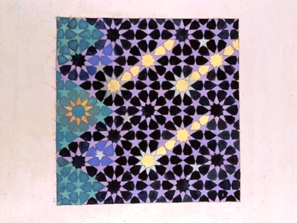 Elisabeth Deane b. 1985Comets, 2019 Gold leaf, platinum leaf, natural pigments and Arabic gum on antique Indian paper 11.1 x 11.1 cm 4 3/8 x 4 3/8 in