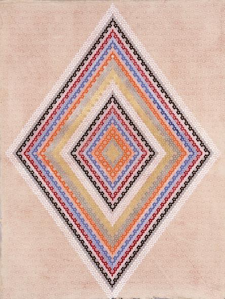 Elisabeth Deane b. 1985The Seven Gates, 2019 Italian gold leaf, palladium leaf, natural pigments and Arabic gum on handmade Indian hemp paper 122.5 x 94 cm 48 1/4 x 37 1/8 in