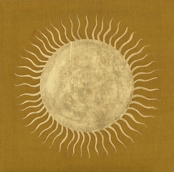 Elisabeth Deane Keralan Sun, 2019 Gold leaf on handloom cloth (khadi) sourced in Kerala, India 65 x 65 cm 25 5/8 x 25 5/8 in
