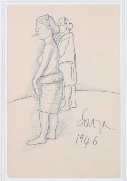 Francis Newton Souza, Untitled (Woman with bidi), 1946