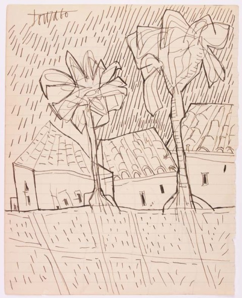 Francis Newton Souza, Untitled (Landscape with Houses and Trees), 1960