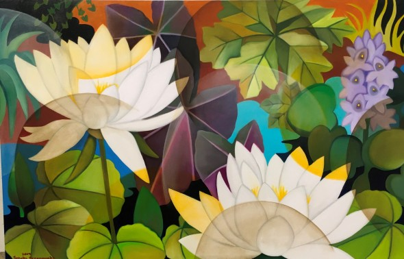 Senaka Senanayake b. 1951White Lotus, 2019 Oil on canvas Signed and dated 76.2 x 121.9 cm 30 x 48 in