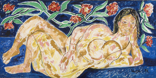 Francis Newton Souza 1924-2002Untitled (Odalisque), 1992 Acrylic on canvas Signed and dated 'Souza 92' lower right 122 x 244.5 cm 48 1/8 x 96 1/4 in