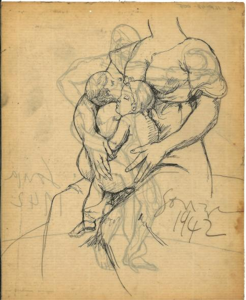 Francis Newton Souza, Untitled (Mother and Child) ; Untitled (After Michelangelo), 1942