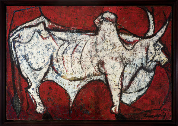 Zahoor ul-Akhlaq 1941-1999Untitled (Zebu Bull on Red), 1961 Oil on board Signed and dated '61 lower right 73 x 107 cm 28 3/4 x 42 1/8 in