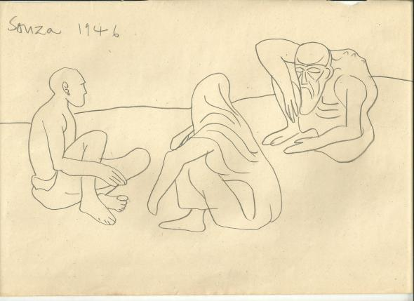 Francis Newton Souza, Untitled (Beggars), 1946
