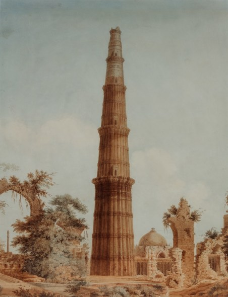 19th Century British The Qutb Minar, Early 19th century Watercolour on paper 61.5 x 47.5 cm 24 1/4 x 18 3/4 in