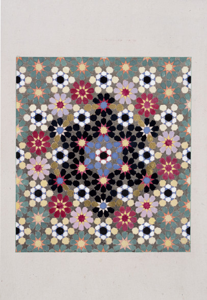 Elisabeth Deane b. 1985Flower Circles, 2019 Gold leaf, shell gold, platinum leaf, natural pigments and Arabic gum on antique Indian paper 19 x 17 cm 7 1/2 x 6 3/4 in