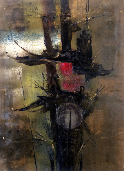 Ibrahim Wagh 1932-2013Untitled (Abstract forms), 1961 Oil on canvas Signed and dated 'Wagh. 61' lower right 58 x 43 cm 22 7/8 x 16 7/8 in