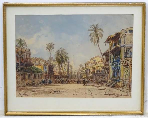 Eduard Hildebrandt 1818-1869 Strasse in Bombay (Street in Bombay, c.1865 Chromolithograph on paper Signed and titled along lower edge 24.2 x 34 cm 9 1/2 x 13 3/8 in