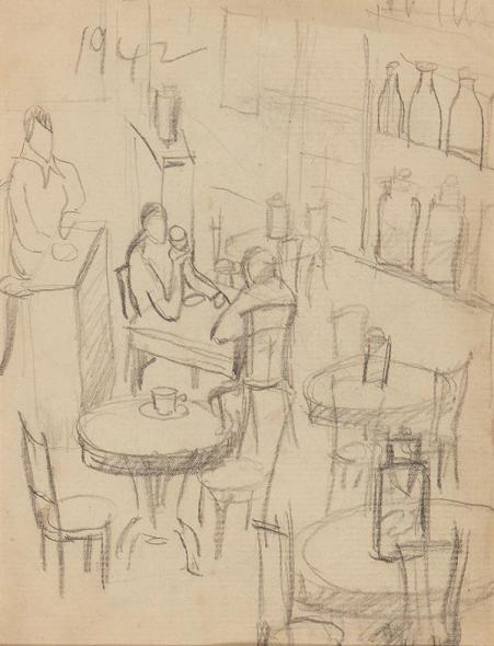 Francis Newton Souza, Untitled (Cafe), 1942