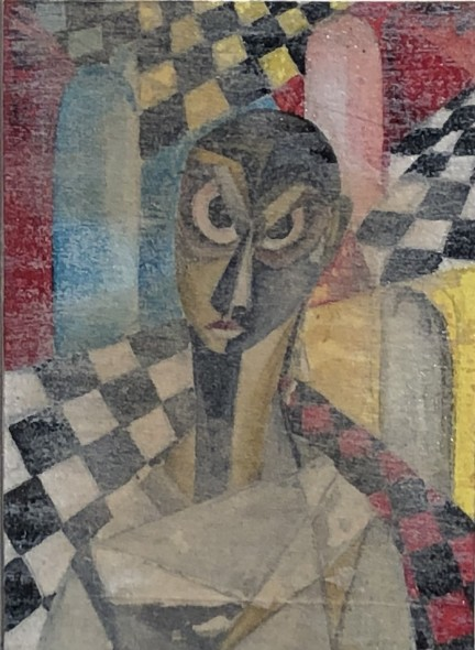 Ibrahim Wagh 1932-2013Untitled (Figure in an Interior), c.1960 Mixed media on paper mounted on card Signed 'wagh.' on mount lower right 6.5 x 5 cm 2 1/2 x 2 in