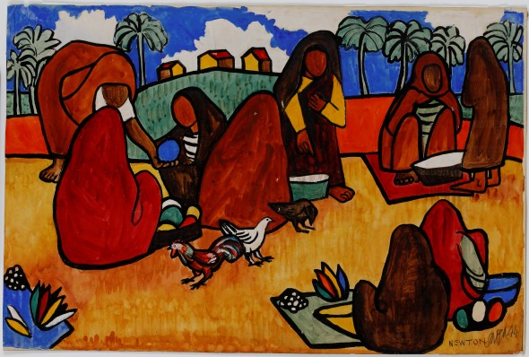 Francis Newton Souza, Goan peasants in the market, 1944