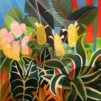 Senaka Senanayake b. 1951My Garden, 2019 Oil on canvas Signed and dated 76.2 x 76.2 cm 30 x 30 in