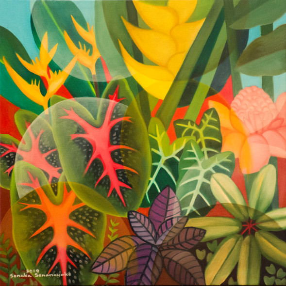 Senaka Senanayake b. 1951The Rainforest, 2019 Oil on canvas Signed and dated 60.9 x 60.9 cm 24 x 24 inches