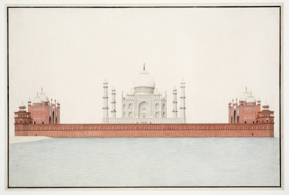 View of the Taj Mahal from the Yamuna River, circa 1825-1850