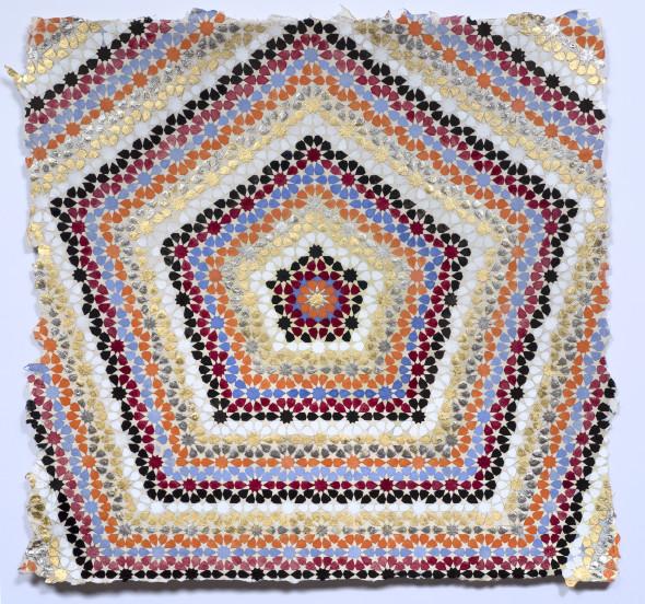Elisabeth Deane Emanator, 2019 Italian gold leaf, platinum leaf, natural pigments and Arabic gum on handmade Indian hemp paper 37 x 37 cm 14 5/8 x 14 5/8 in