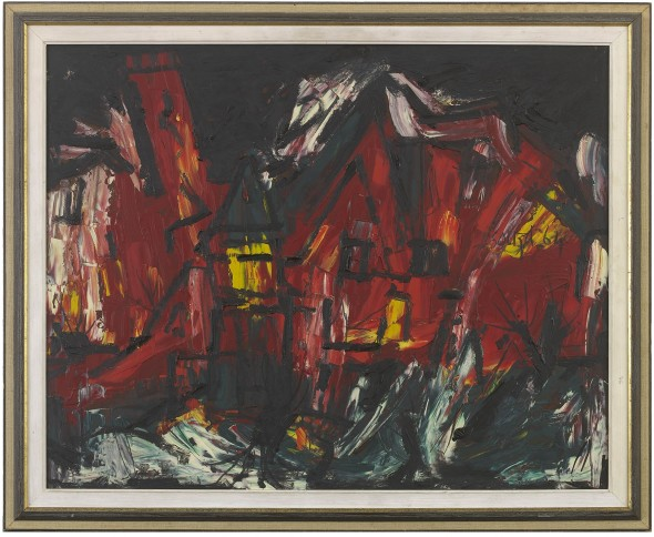 Francis Newton Souza (1924-2002)Red Townscape, 1964 Oil on board Signed and dated lower right 60 x 75 cm 23 5/8 x 29 1/2 in