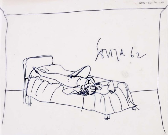 Francis Newton Souza, Untitled (Nude on Bed), 1962