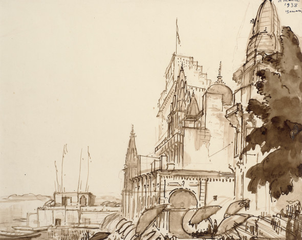 André Maire 1898-1984Benares, 1938 Ink, wash and pencil on paper Signed and dated 'a maire/ 1938/ Benares' upper right 33 x 42 cm 13 x 16 1/2 in