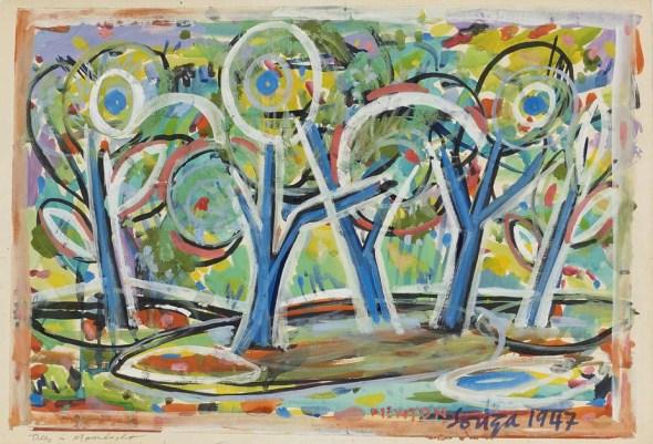 Francis Newton Souza, Trees in Moonlight, 1947
