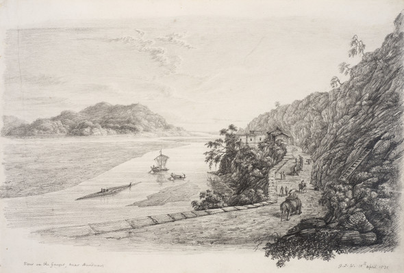 Colonel George Francis White 1808-1898View on the Ganges, near Hurdwar (sic), 1831 Pencil on paper Signed, titled and inscribed 'G.J.W. 10th April 1831' lower right 24.9 x 36.3 cm 9 3/4 x 14 1/4 in
