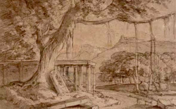 William Daniell R.A. 1769-1837A Ruined Temple Pencil, brown ink and wash on paper 14 x 22.5 cm 5 1/2 x 8 7/8 in