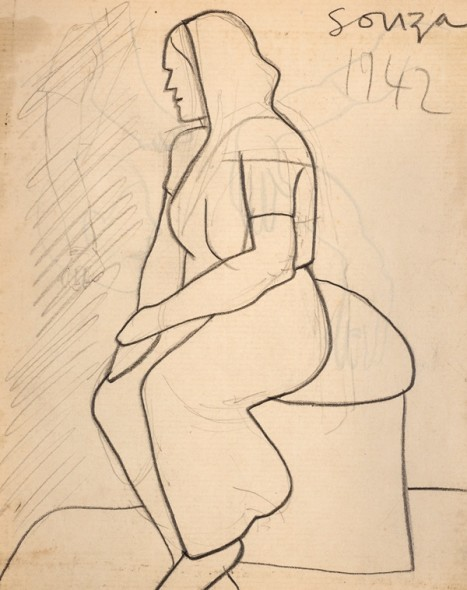 Francis Newton Souza, Untitled (Seated woman in sari) recto; Untitled verso, 1942