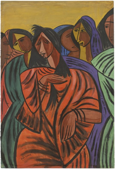 Ram Kumar 1924-2018Sorrow, 1949 Gouache on paper Signed 'Ram Kumar' lower left, titled in pencil on the reverse and inscribed '7,200/-' 56 x 38 cm 22 1/8 x 15 in