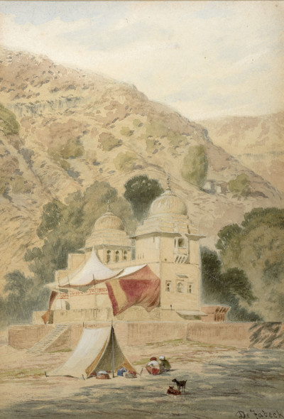 Frederick William Alexander De Fabeck 1830 - 1912View of India with a Temple, c.1860 Watercolour on paper Signed lower right 24.5 x 17 cm 9 5/8 x 6 3/4 in
