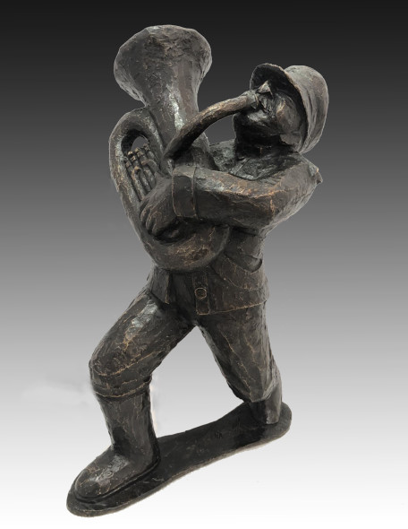 Krishen Khanna b. 1925Untitled (Bandwalla with Tuba), 2019 Bronze edition of 9 + 2 AP height 55.9 cm height 22 in