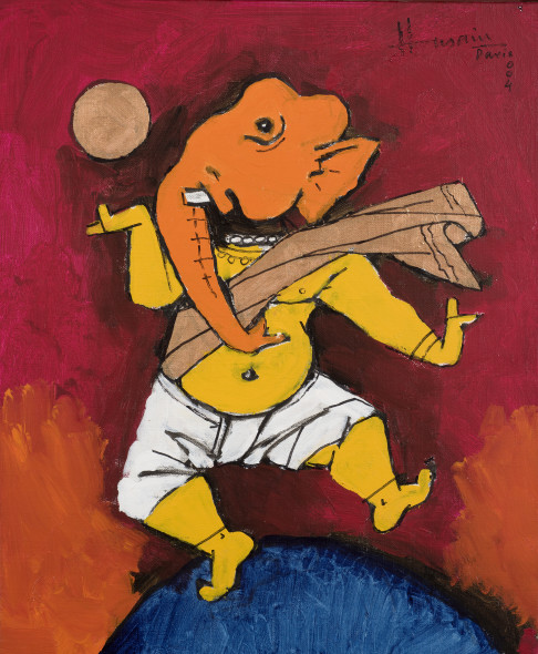 Maqbool Fida Husain 1915-2011Untitled (Dancing Ganesh), 2004 Acrylic on canvas Signed and dated 'Husain/ Paris/ 004' upper left 50 x 32 cm 19 3/4 x 12 5/8 in